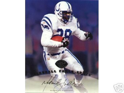 Marshall Faulk certified autograph Indianapolis Colts 1997 Leaf 8x10 photo card