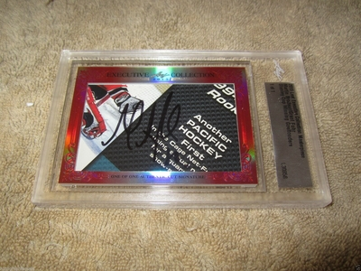 Martin Brodeur and Grant Fuhr 2015 Leaf Masterpiece Cut Signature certified autograph card 1/1 JSA