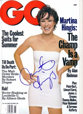 Martina Hingis autographed 1998 GQ magazine (full name signature)