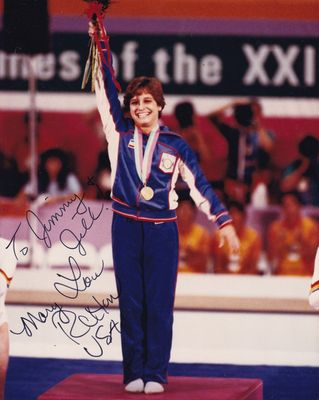 Mary Lou Retton autographed 1984 U.S. Olympic Team 8x10 photo (inscribed To Jimmy & Jill)