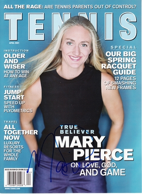 Mary Pierce autographed 2001 Tennis magazine cover