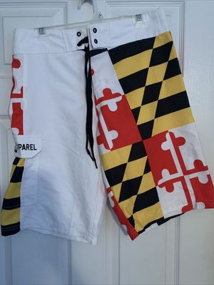 Maryland state flag white Route One Apparel men's shorts NEW