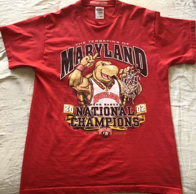 Maryland Terrapins 2002 NCAA Basketball National Champions red T-shirt LIKE NEW