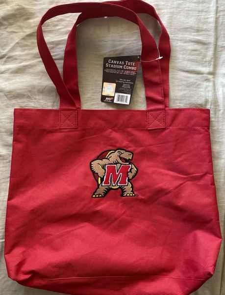 Maryland Terrapins red canvas tote bag with embroidered logo NEW