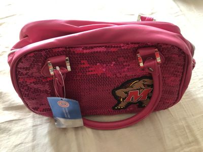 Maryland Terrapins logo hot neon pink sequin handbag or purse NEW WITH TAGS (with defects)