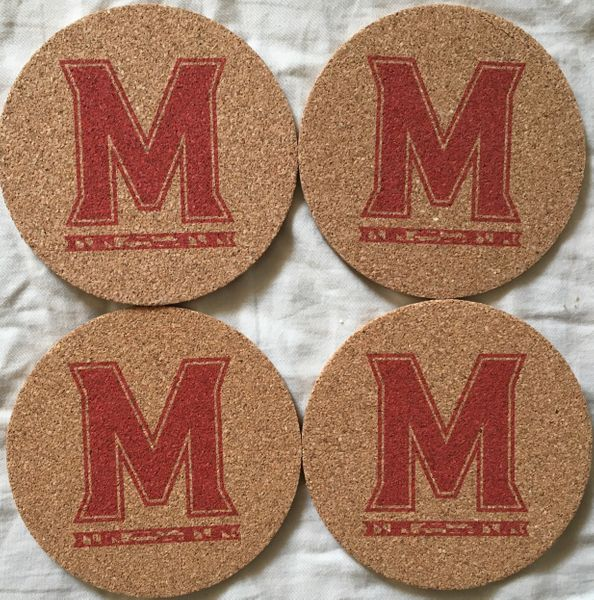 University of Maryland Terrapins M logo set of 4 cork coasters