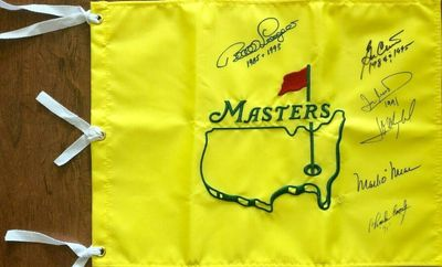 Undated Masters golf pin flag autographed by 6 winners (Ben Crenshaw Bernhard Langer)