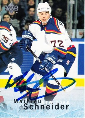 Mathieu Schneider autographed New York Islanders 1995 Be A Player card