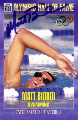 Matt Biondi autographed Olympic Hall of Fame Sports Illustrated for Kids card