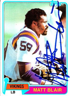 Matt Blair autographed Minnesota Vikings 1981 Topps card