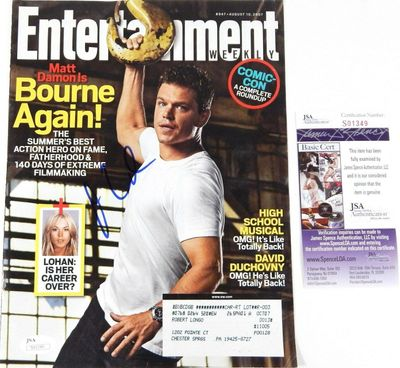 Matt Damon autographed Bourne Ultimatum 2007 Entertainment Weekly magazine cover (JSA)