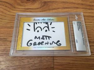 Matt Groening 2016 Leaf Masterpiece Cut Signature certified autograph card 1/1 with Bart Simpson sketch JSA