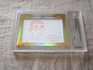 Matt Groening 2017 Leaf Masterpiece Cut Signature certified autograph card 1/1 with Milhouse sketch JSA LOA