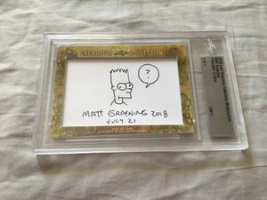 Matt Groening 2018 Leaf Masterpiece Cut Signature certified autograph card 1/1 with Bart Simpson sketch JSA
