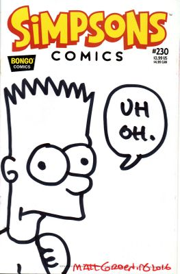 Matt Groening autographed and Bart sketched cover Simpsons comic book #230
