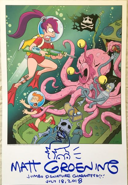 Matt Groening autographed doodled dated Futurama 13x19 2018 Comic-Con exclusive lithograph