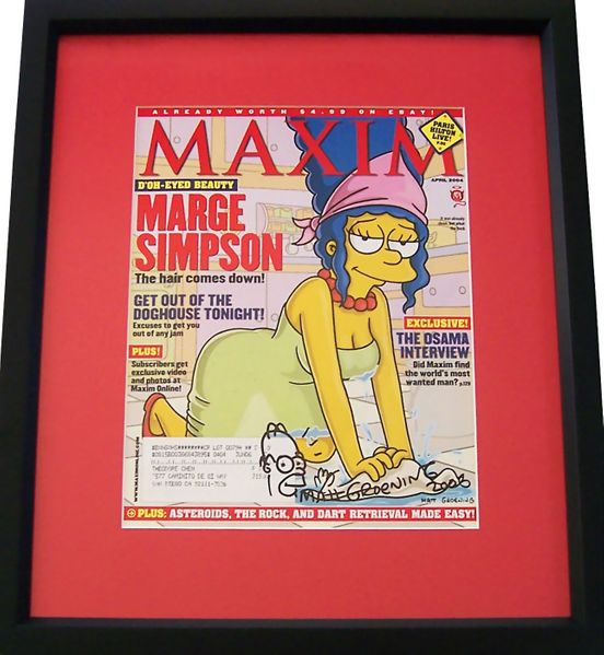 Matt Groening autographed & doodled Marge Simpson 2004 Maxim magazine cover matted & framed