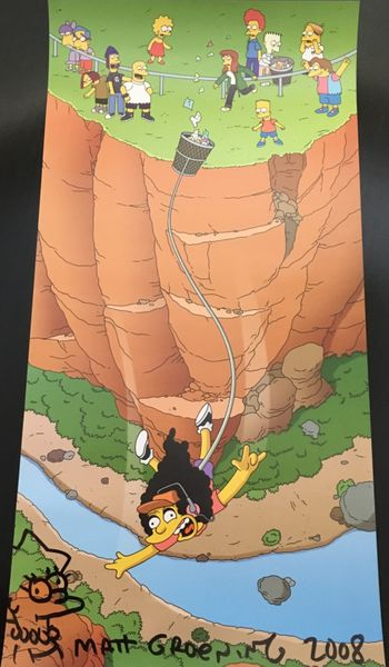 Matt Groening autographed and doodled Simpsons 2008 Comic-Con 12x24 poster