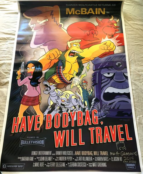 Matt Groening autographed dated and doodled The Simpsons 2015 Comic-Con McBain full size 27x40 movie poster