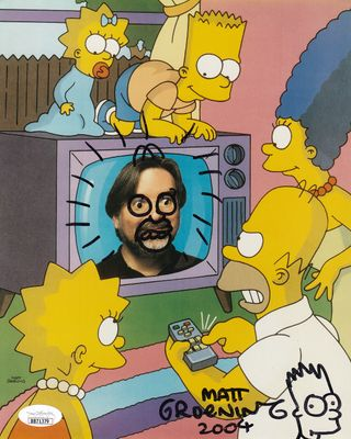 Matt Groening autographed dated and doodled The Simpsons Family 8x10 photo (JSA)