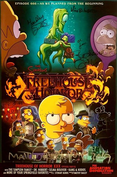 The Simpsons autographed and doodled 2019 Comic-Con poster (Matt Groening Yeardley Smith)