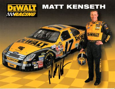 Matt Kenseth autographed DeWalt Racing NASCAR photo card