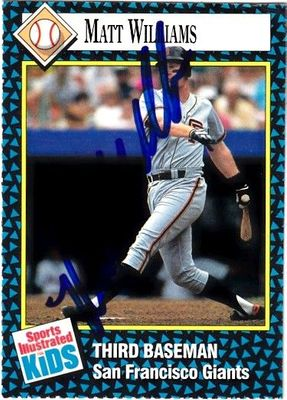 Matt Williams autographed San Francisco Giants 1992 Sports Illustrated for Kids card