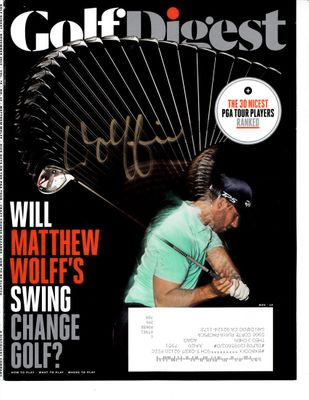 Matthew Wolff autographed 2019 Golf Digest magazine cover