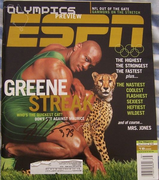Maurice Greene autographed 2000 Olympic ESPN Magazine inscribed 9.79