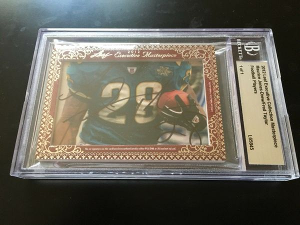 Maurice Jones-Drew and Fred Taylor 2012 Leaf Masterpiece Cut Signature certified autograph card 1/1 JSA