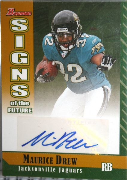 Maurice Jones-Drew certified autograph Jacksonville Jaguars 2006 Bowman Signs of the Future Gold Rookie Card #49/50