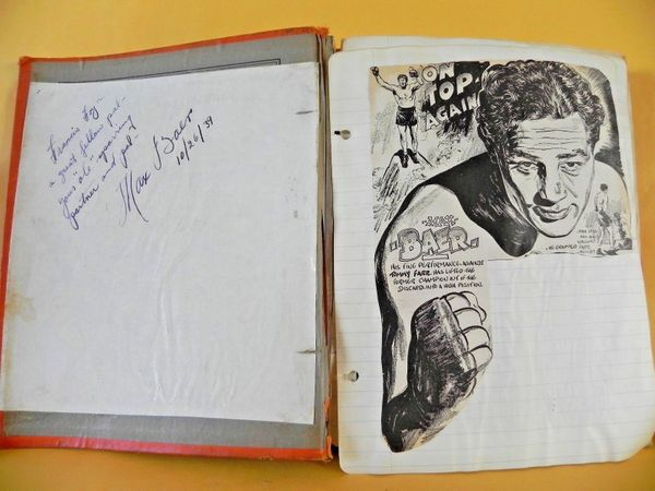 Max Baer autographed original vintage boxing scrapbook inscribed and dated 10/26/39