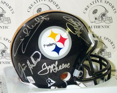 Joe Greene LC Greenwood Ernie Holmes Dwight White (Steel Curtain) autographed Pittsburgh Steelers mini helmet