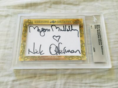 Megan Mullally and Nick Offerman 2018 Leaf Masterpiece Cut Signature certified autograph card 1/1 JSA