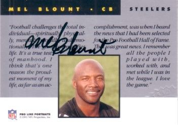 Mel Blount certified autograph Pittsburgh Steelers 1991 Pro Line card