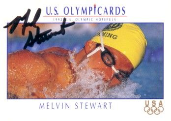 Melvin Stewart autographed 1992 U.S. Olympic card