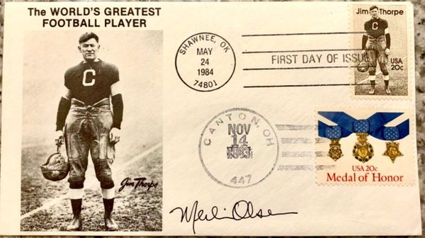 Merlin Olsen autographed 1984 Jim Thorpe First Day Cover