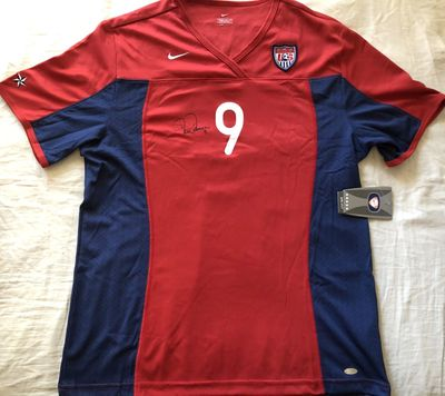 Mia Hamm autographed U.S. Soccer authentic Nike red game model jersey (Steiner)