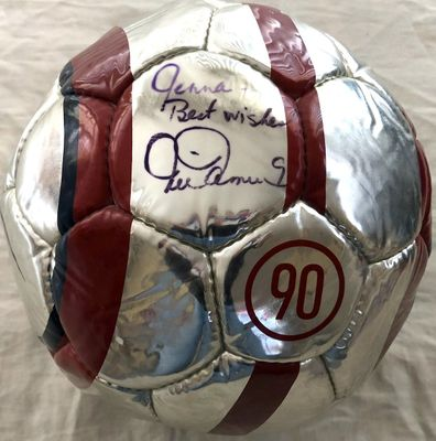 Mia Hamm autographed U.S. Soccer logo Nike size 5 chrome soccer ball (inscribed Jenna - Best wishes)