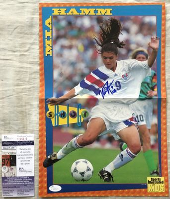 Mia Hamm autographed U.S. Soccer 1995 Sports Illustrated for Kids mini poster with old full name signature (JSA)