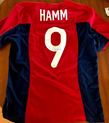 Mia Hamm autographed U.S. Soccer authentic Nike red 2004 Olympic Team game model jersey (Steiner)