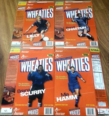 Mia Hamm Brandi Chastain Kristine Lilly Briana Scurry set of four 1999 U.S. Women's World Cup Champions Team Wheaties boxes