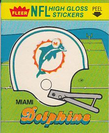 Miami Dolphins 1981 Fleer and 1984 Fleer helmet logo sticker cards