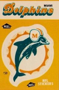 Miami Dolphins 1984 Fleer logo sticker card