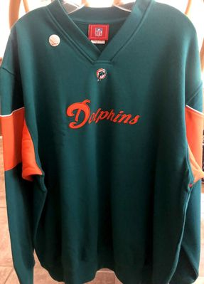 Miami Dolphins aqua heavyweight embroidered NFL men's LARGE sweatshirt NEW WITH TAGS