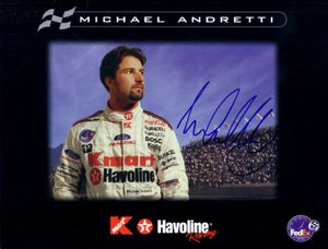 Michael Andretti autographed 8 1/2 x 11 photo card