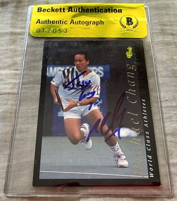 Michael Chang autographed 1992 Classic tennis card (BAS authenticated)