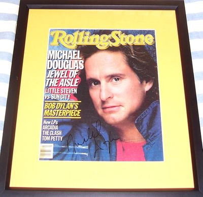Michael Douglas autographed 1986 Rolling Stone magazine cover matted and framed
