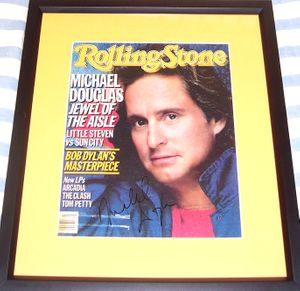 Michael Douglas autographed 1986 Rolling Stone magazine cover matted & framed