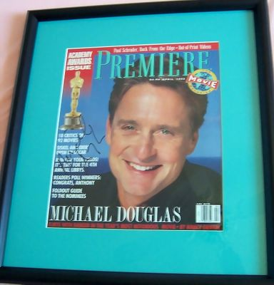 Michael Douglas autographed 1992 Premiere magazine cover matted & framed